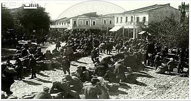 February 19th, 1936 the craftsmen's demonstration in Korca against the industrial production of shoes